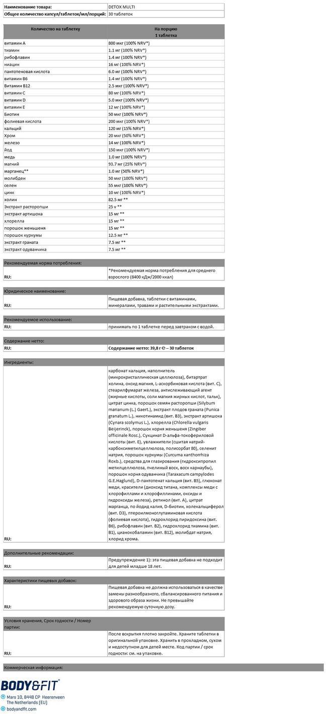 Мультивитамины Детокс Nutritional Information 1