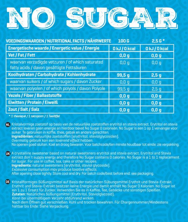 No Sugar Nutritional Information 1