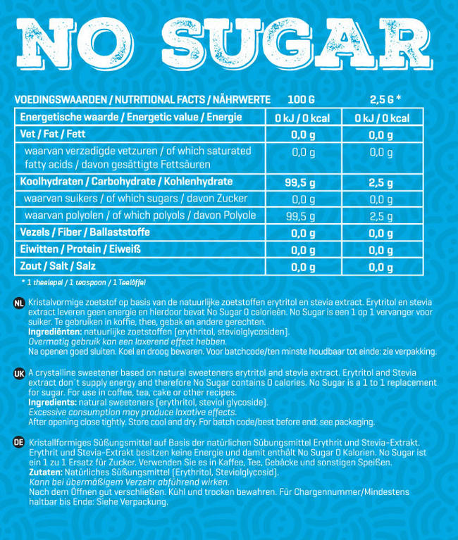 No Sugar Nutritional Information 1