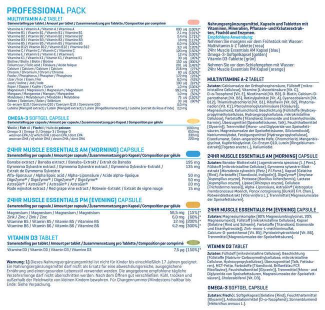 Professional Pack Nutritional Information 1