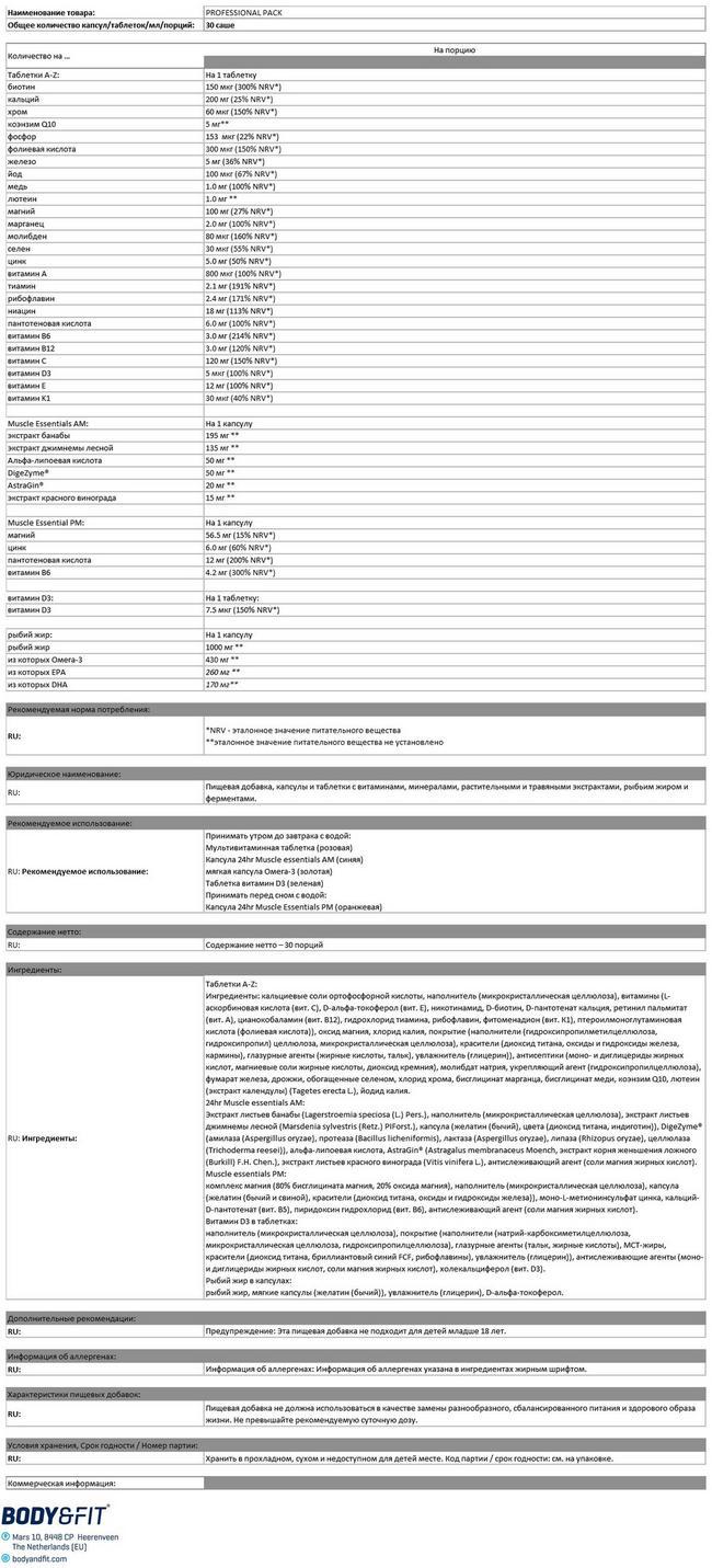 Профессиональная упаковка Nutritional Information 1