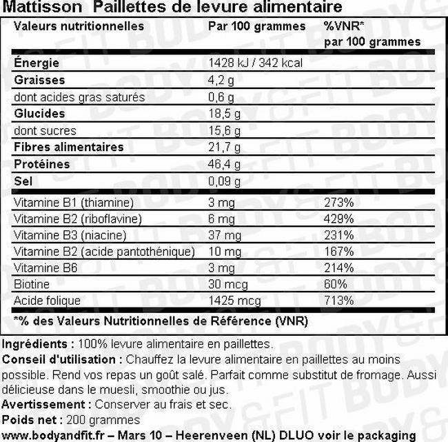 Flocons de levure Yeast flakes Nutritional Information 1