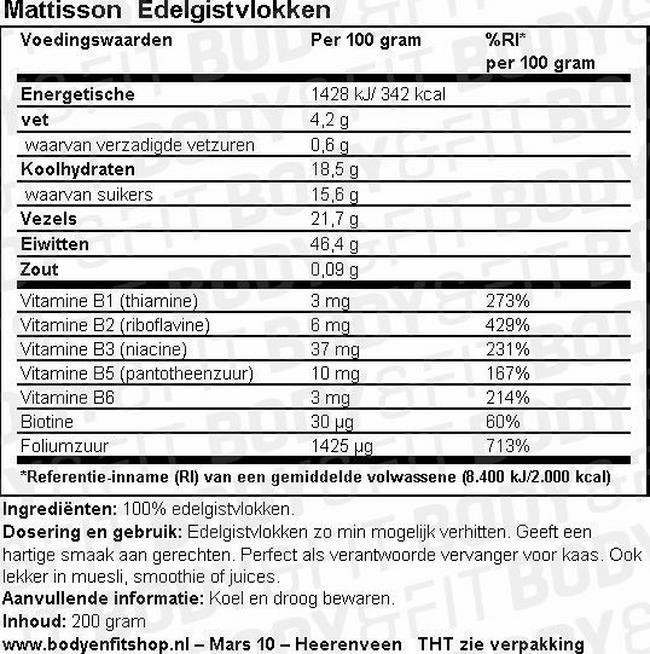 Edelgistvlokken Nutritional Information 1