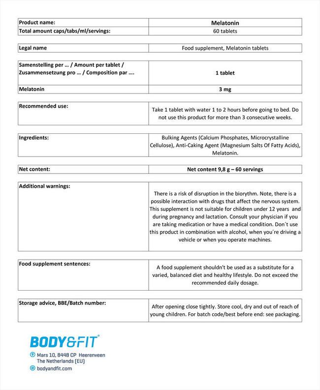 Melatonin Nutritional Information 1