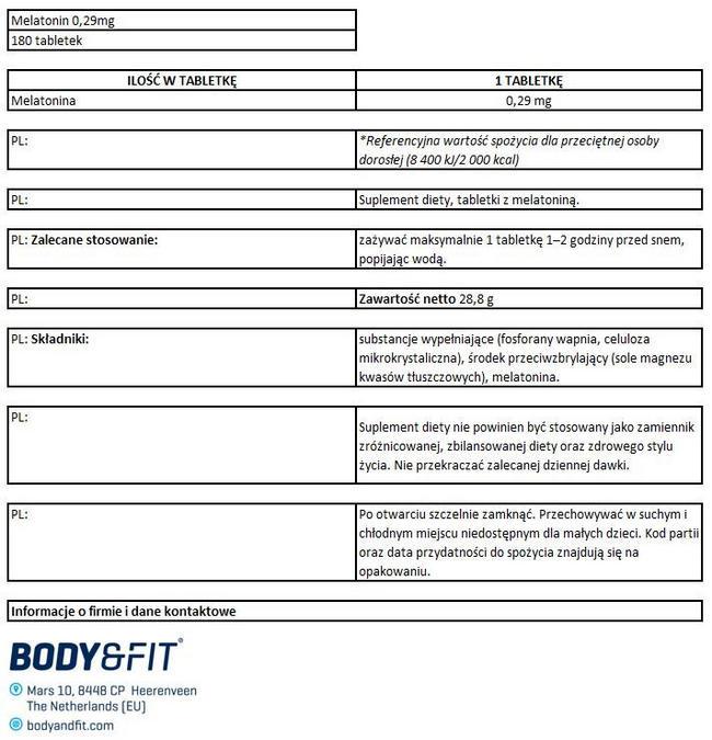 Melatonina Nutritional Information 1