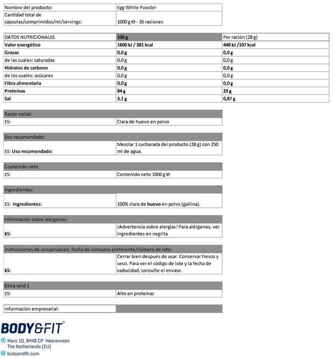 Proteína de clara de huevo en polvo Nutritional Information 1