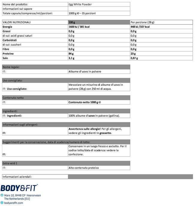 Polvere proteica di Albumi d'uovo Nutritional Information 1