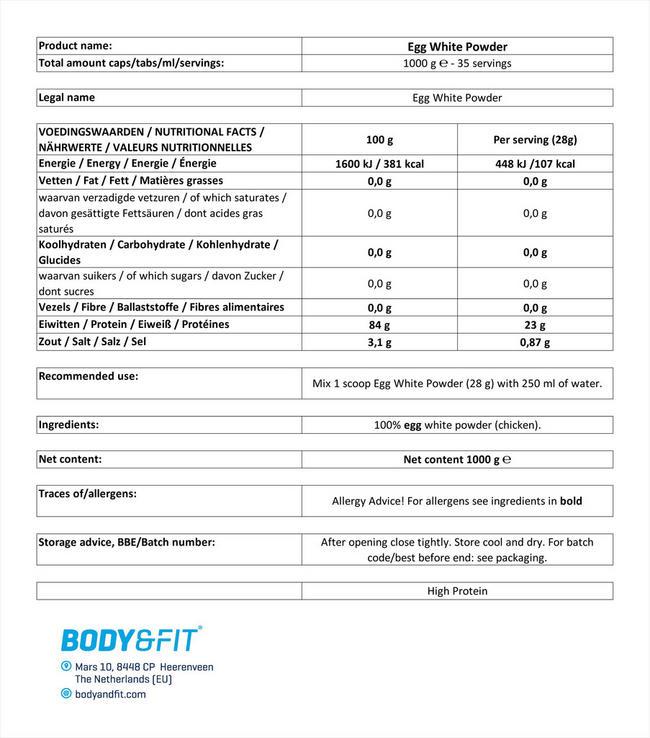 에그 화이트 단백질 파우더 Nutritional Information 1