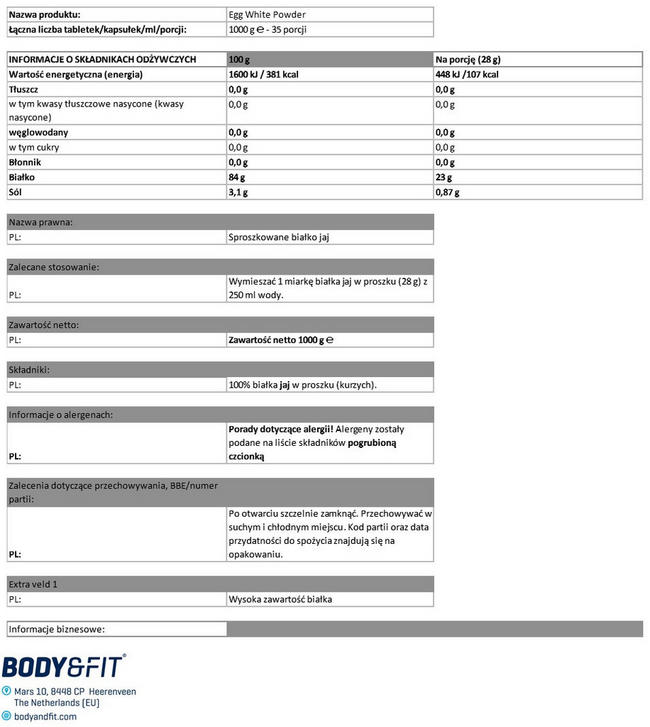Egg White Protein Powder Nutritional Information 1