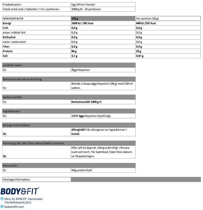Egg White Protein Powder Nutritional Information 1