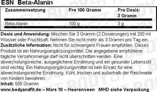 Beta Alanin Nutritional Information 1