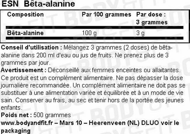 Beta Alanine Nutritional Information 1