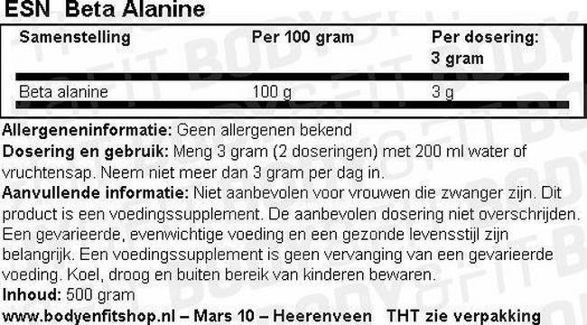 Beta Alanine Nutritional Information 1