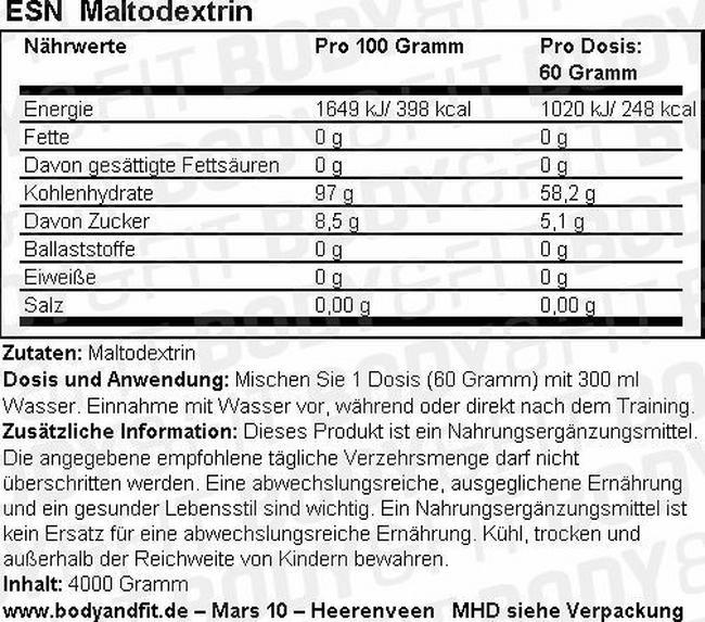 Maltodextrin Nutritional Information 1