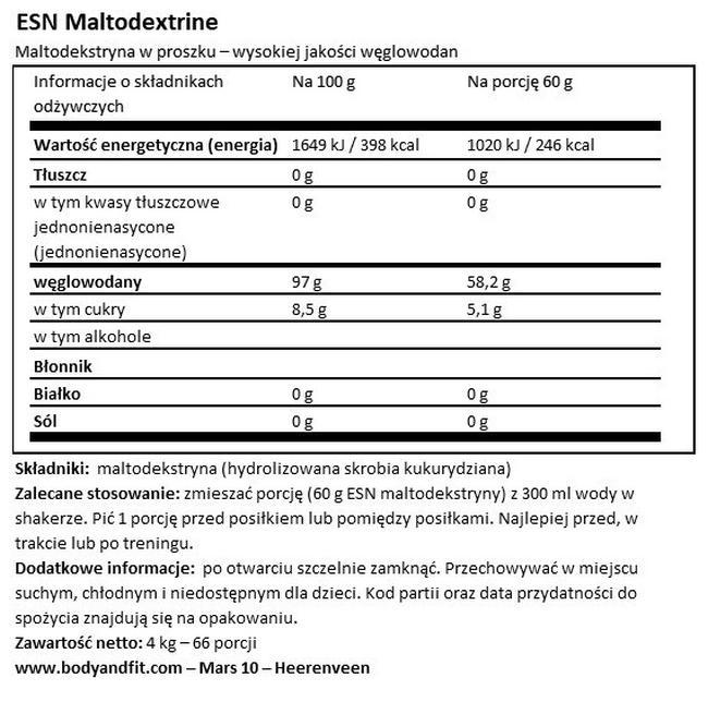 Maltodextrine Nutritional Information 1
