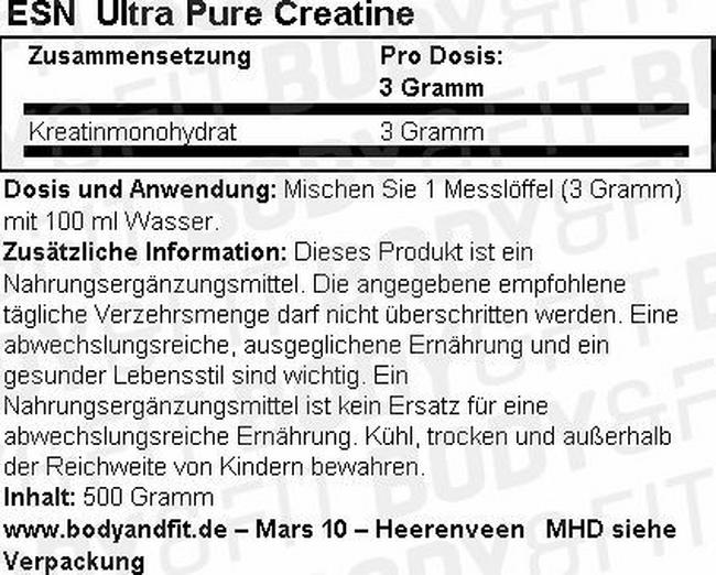 Ultra Pure Creatine Nutritional Information 1