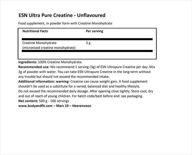 ウルトラピュアクレアチン Nutritional Information 1