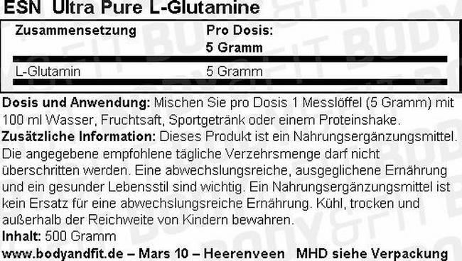 Ultra Pure L-Glutamine Nutritional Information 1