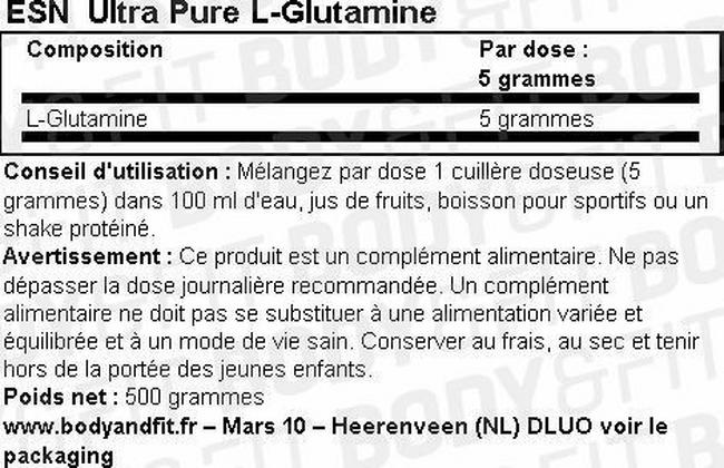Poudre UltraPure L-Glutamine Nutritional Information 1