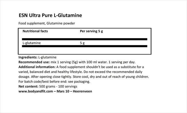 ウルトラピュア L-グルタミン Nutritional Information 1