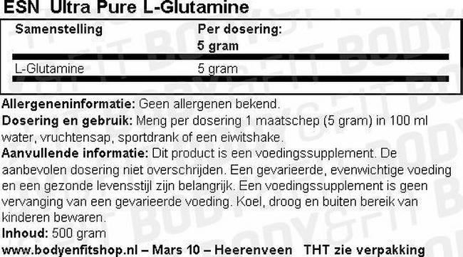 Ultra Pure L-Glutamine Nutritional Information 1