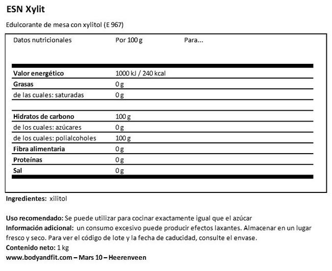 Xylit Nutritional Information 1