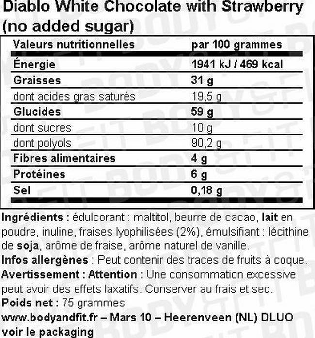 White Chocolate with Strawberry (no added sugar) Nutritional Information 1
