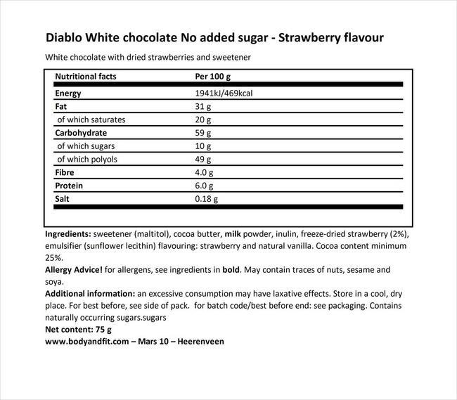ホワイトチョコレート/ストロベリー(ノーアデッドシュガー) Nutritional Information 1