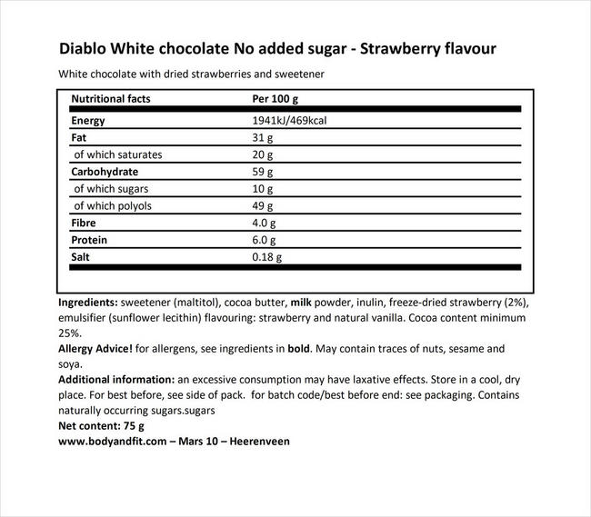 White Chocolate/Strawberry (no added sugar) Nutritional Information 1