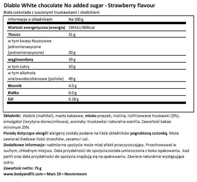 Biała czekolada/Truskawka (bez dodatku cukru) Nutritional Information 1