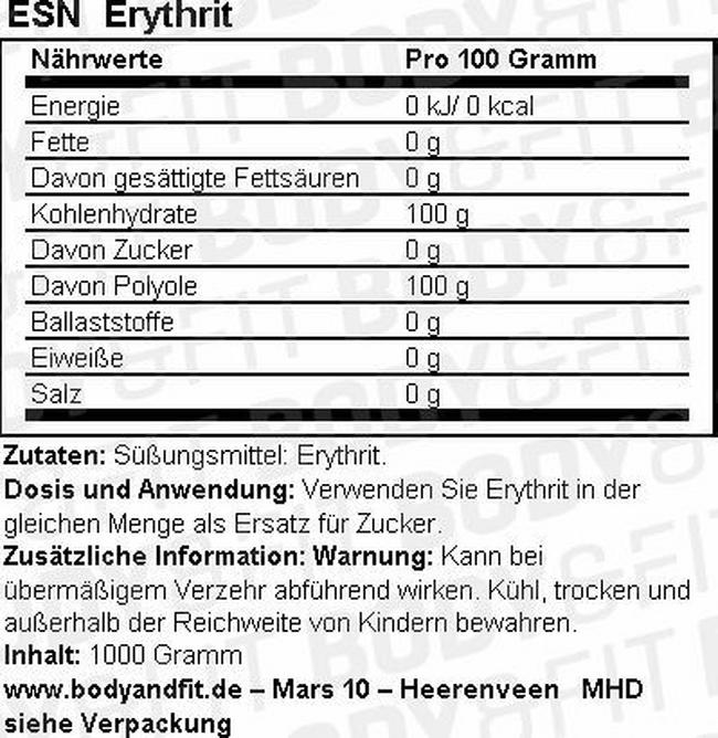 Erythrit Nutritional Information 1