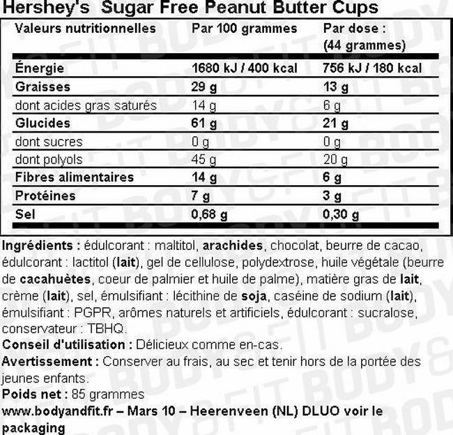 Sugar Free Peanut Butter Cups Nutritional Information 2