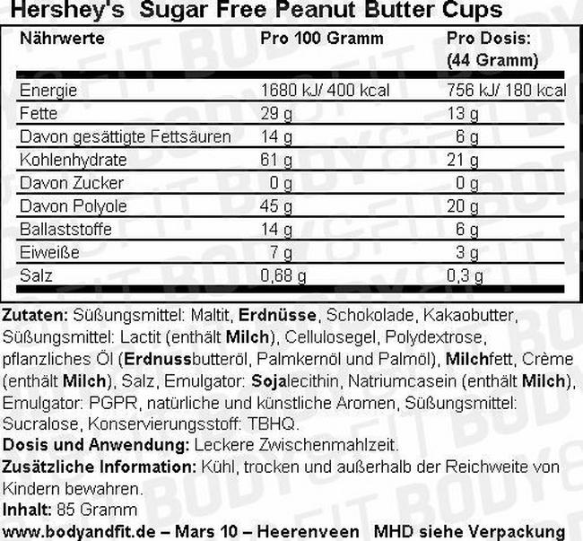 Sugar Free Peanut Butter Cups Nutritional Information 3