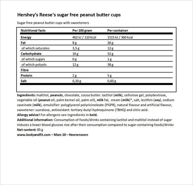 Sugar Free Peanut Butter Cups Nutritional Information 4