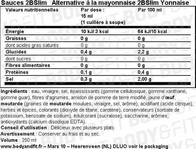 Alternative à la mayonnaise 2BSlim Yonnaise Nutritional Information 1