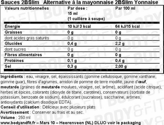Mayonnaise 2BSlim Nutritional Information 1