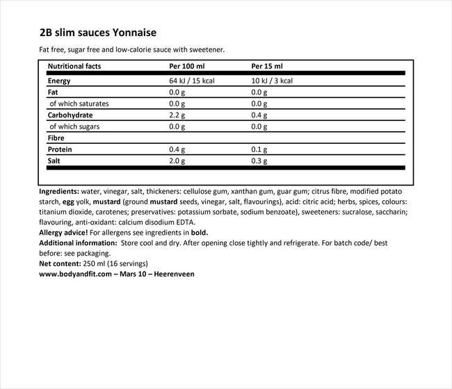 2BSlim ヨネーズ Nutritional Information 1