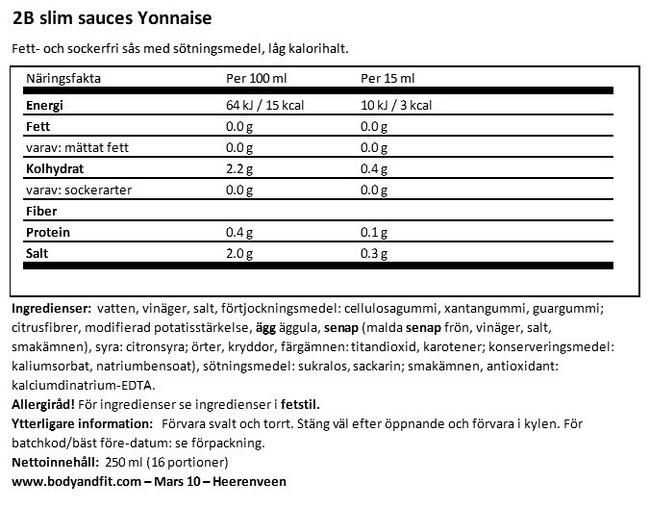 2BSlim Yonnaise Nutritional Information 1