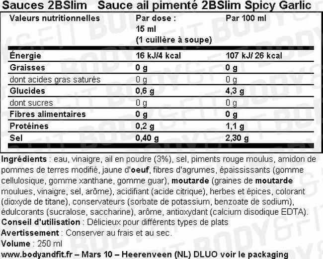 Sauce ail pimenté 2BSlim Spicy Garlic Nutritional Information 1