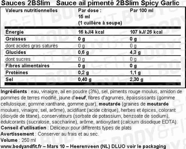 Sauce épicée à l'ail 2BSlim Spicy Garlic Nutritional Information 1