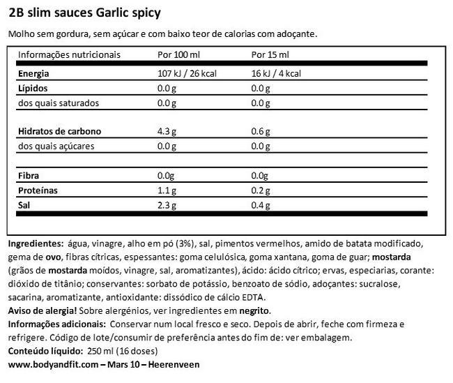 2BSlim alho picante Nutritional Information 1