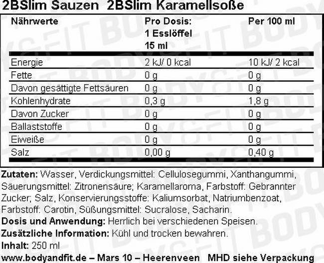 2BSlim Karamellsoße Nutritional Information 1
