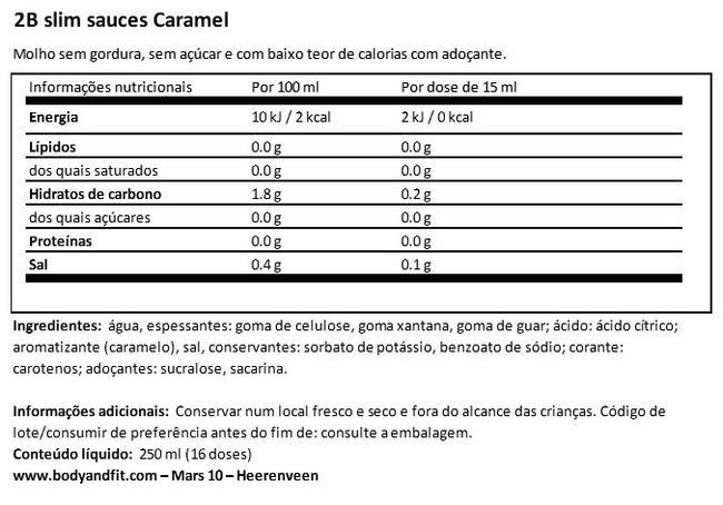 Salsa al Caramello 2BSlim Nutritional Information 1