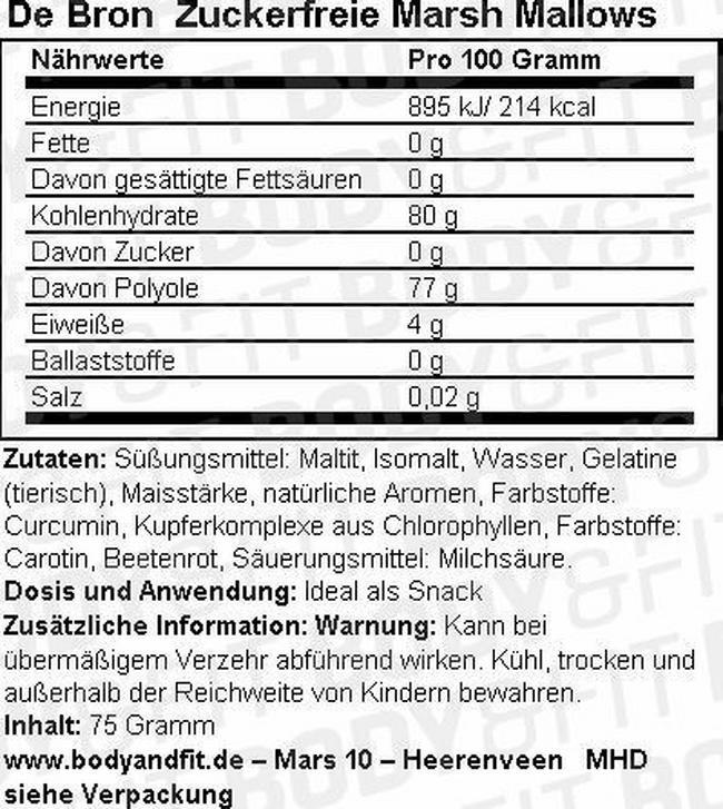 Zuckerfreie Marsh Mallows Nutritional Information 1