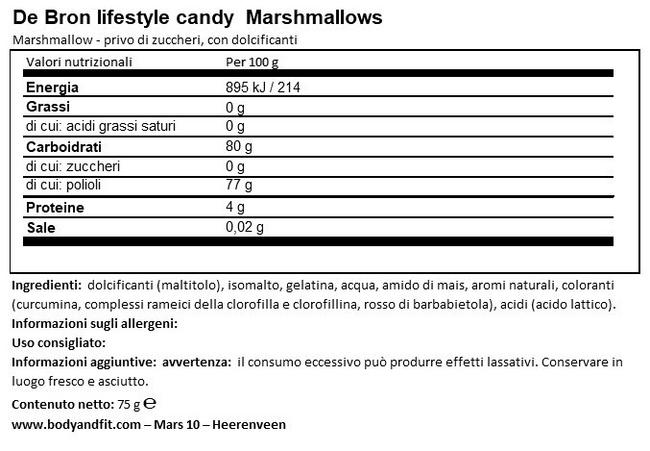 Marshmallow Senza Zucchero Nutritional Information 1