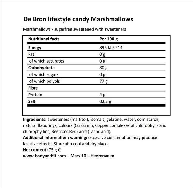 シュガーフリー マシュマロ Nutritional Information 1