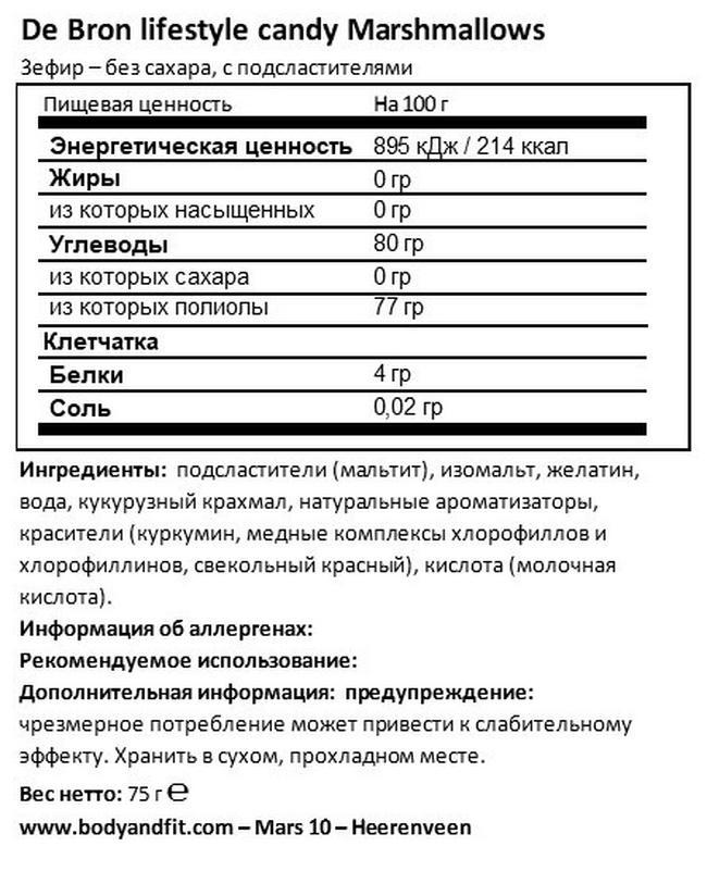 Sugar-free Marshmallows Nutritional Information 1