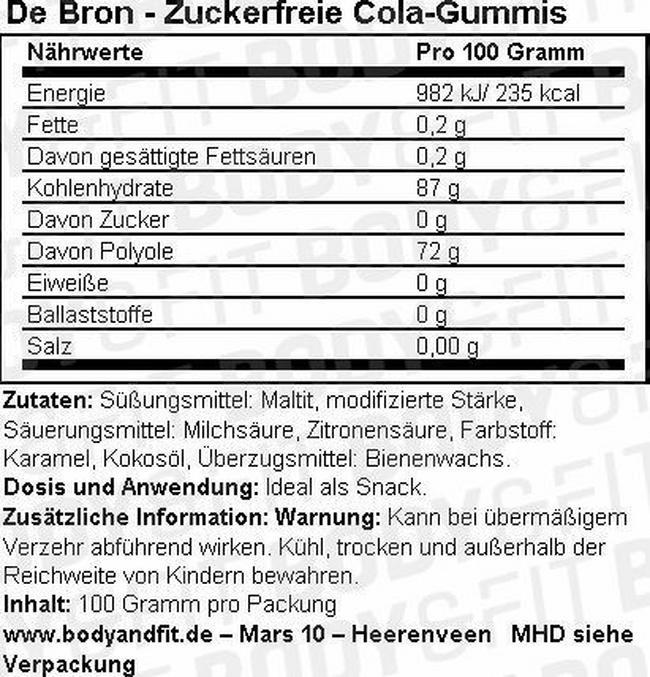 Zuckerfreie Colagummis Nutritional Information 1