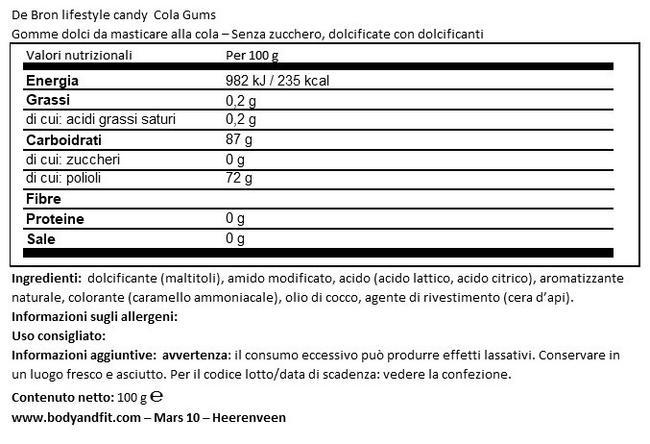 Sugar-free Coke Gums Nutritional Information 1