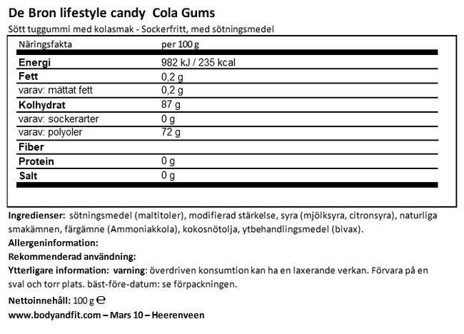 Sockerfria Coke Gums Nutritional Information 1